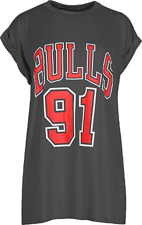 Be Jealous Womens Bulls 91 Print Turn Up Sleeve Tee T Shirt Bulls Charcoal M/L (UK 12/14)