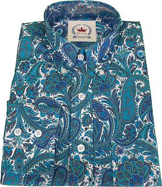 Relco Mens Retro Mod Paisley Shirt (XXX Large, Turquoise)