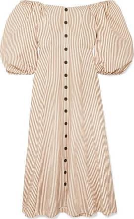 Mara Hoffman Mika Off-the-shoulder Tencel And Linen-blend Midi Dress - Neutral
