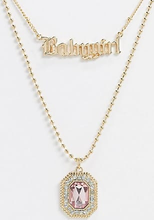 Asos multirow necklace with babygirl gothic font and jewel pendant in gold tone
