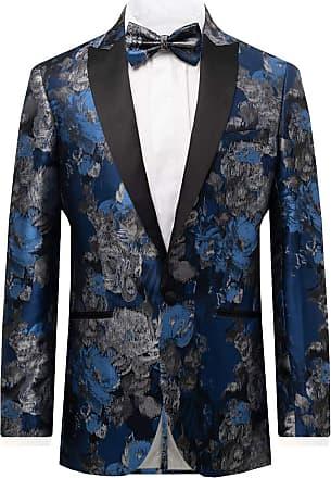 Dobell Mens Blue Floral Jacquard Tuxedo Jacket Regular Fit Contrast Peak Lapel-42R
