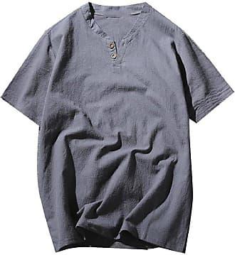 Abetteric Túnica masculina Abetteric de cor sólida e manga curta, com botões, gola em V, túnica macia, Pattern1, US 3X Large