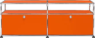 USM Haller Lowboard mit 2 Klapptüren - reinorange RAL 2004/152.3 x 56.5 x 37.3 cm/2 offene Fächer ohne Rückwand