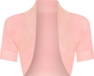 The Celebrity Fashion Womens Cotton Sequin Beaded Cap Short Sleeve Shrug Bolero Cardigan Top Size 8-26 Baby Pink