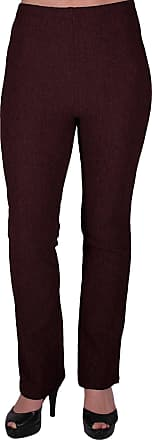 Eyecatch Womens Pull On Ribbed Stretch Bootleg Elasticated Trousers Ladies Pants Regular Leg Brown Size 16