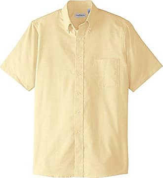Van Heusen Mens Dress Shirts Short Sleeve Oxford Solid, Yellow, XX-Large