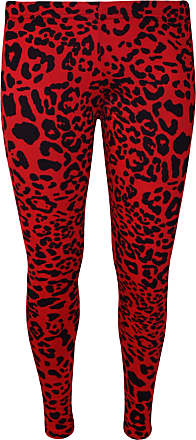 WearAll Womens Animal Aztec Skull Print Full Long Pants Ladies Stretch Leggings - Red Animal - 12-14
