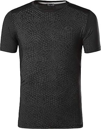 Jeansian Mens Sports Breathable Quick Dry Short Sleeve T-Shirts Tee Tops Running Training, L, Lsl185_black