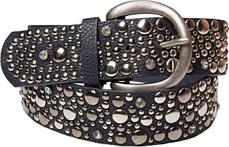 styleBREAKER studded belt in vintage style, wide womens belt with studs and rhinestones, shortenable 03010020, color:dark blue;size:95cm