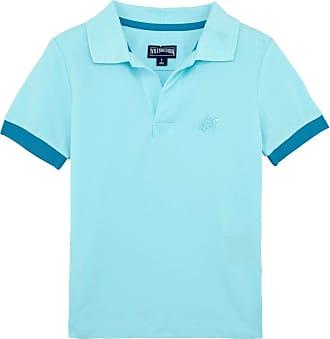 Vilebrequin Boys Cotton Pique Polo Shirt Solid - Aquamarine - 10YRS