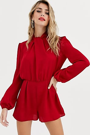 Miss Selfridge satin playsuit with twist neck in red