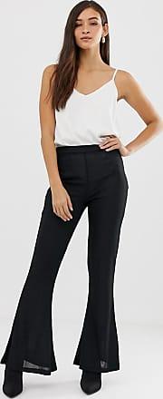 Vila textured flare trouser-Black
