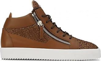 Giuseppe Zanotti Brown stranded calfskin mid-top sneaker CLAY
