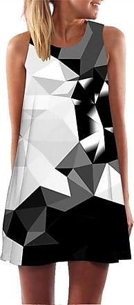 Ocean Plus Womens Sleeveless Vintage Boho Beach Dress Sundress Tank Tops Beach Dress Round Neck Short A Line Shirt Dress Blouse Dress (XXL (UK 14-16), Black Whit