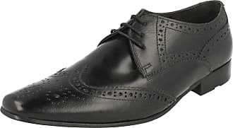Base London GILMORE Mens Waxy Leather Lace Up Formal Smart Derby Shoes Black