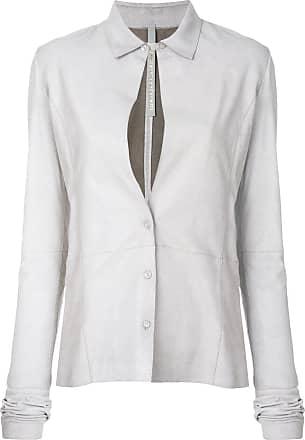 Olsthoorn Vanderwilt Camisa de couro com fenda frontal - Cinza