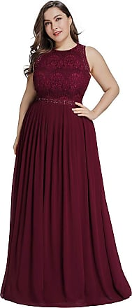Ever-pretty Womens Elegant High Collor Lace Empire Waist A Line Long Chifon Plus Size Bridesmaid Dresses Burgundy 20UK