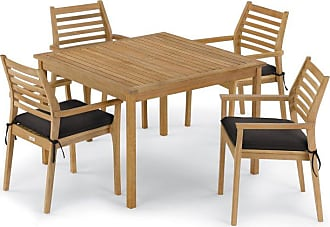 Oxford Garden Outdoor Oxford Garden Classic Wood 5 Piece Square Patio Dining Set Canvas Mineral Blue - 5792
