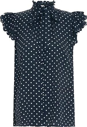 Zimmermann Blusa Gola Alta Estampada - Mulher - Azul - 3 AU