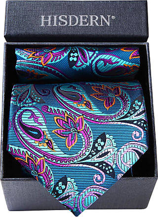 Hisdern Mens Necktie Gift Box Set Paisley Floral Tie Pocket Square Elegant Fashion Handkerchief Hanky
