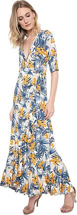 Ana Hickmann Vestido Ana Hickmann Longo Jungle Azul/Laranja