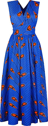 EmilyLe Womens African Boho Vintage Dress Elegant Floor Length High Waist Multiway Bandage Dress Ethnic Costume (XL, Blue Orange)