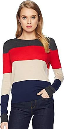 Splendid Womens Crewneck Long Sleeve Pullover Sweater Sweatshirt, Charcoal/Rouge Oatmeal Navy, X-Large