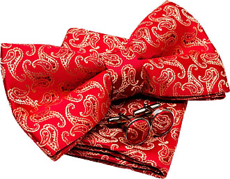 Retreez Classic Paisley Pattern Woven Microfiber Pre-tied Bow Tie (Width: 5) with matching Pocket Square and Cufflinks, Gift Box Set as a Christmas Gift, Birt