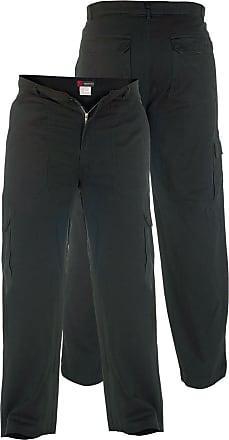 Duke London Tall Duke Kingsize Cotton Cargo Pants-36 Waist/38 Leg Black