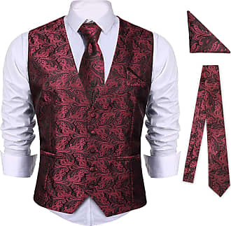 iClosam Mens 5-Buttons Floral Jacquard Waistcoat&Necktie Pocket Square Paisley Vest Suit Set (Wine Red, XX-Large)
