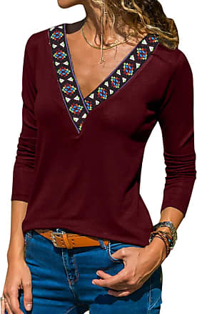 Yoins Women Long Sleeve V Neck Tops Ethnic Printed Casual Loose Blouse Tunic Pullover Wine Red S/UK 8-10