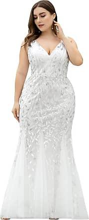 Ever-pretty Womens Sleeveless V Neck Floor Length Elegant Mermaid Plus Size Wedding Guest Dresses White 22UK