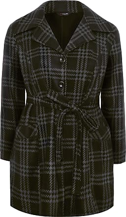 Yours Clothing Clothing Womens Check Revere Collar Fleece Coat Size 26-28 Black Grey Check