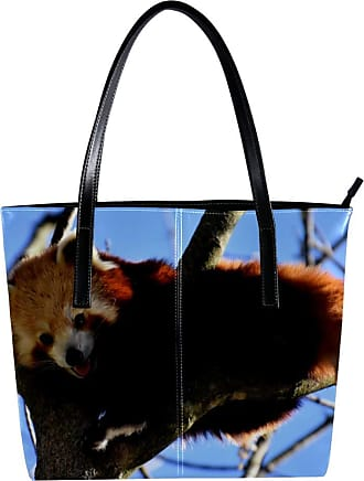 Nananma Womens Bag Shoulder Tote handbag with Panda Climbing Tree Print Zipper Purse PU Leather Top-handle Zip Bags