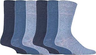 SockShop 6 Pairs Unisex IOMI Footnurse SockShop Loose Non Elastic Diabetic Socks for Swollen Legs with Hand Linked Toe Seams 6-11 UK 39-45 Eur (Blue)