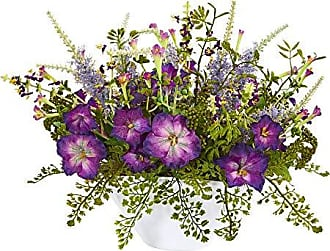Nearly Natural 1768 Morning Glory Artificial White Vase Silk Arrangements, Purple