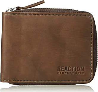 Kenneth Cole Reaction Mens RFID Blocking Bifold Zip Around Wallet with Coin Pocket, -brown, One Size