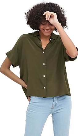 LilySilk Oversize Loose 100% Silk T-Shirt Casual Short Sleeves Blouse for Women (Olive Green, M)