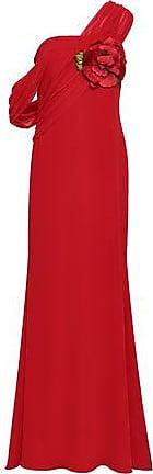 Badgley Mischka Badgley Mischka Woman One-shoulder Georgette-paneled Floral-appliquéd Cady Gown Red Size 12