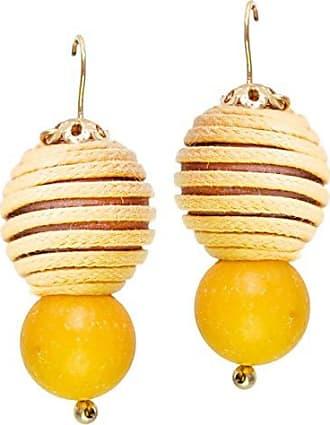 Tinna Jewelry Brinco Dourado Madeira Desenhada (Amarela)