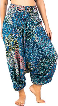 Lofbaz Womens Peacock Harem 2 in 1 Jumpsuit Pants Blue M