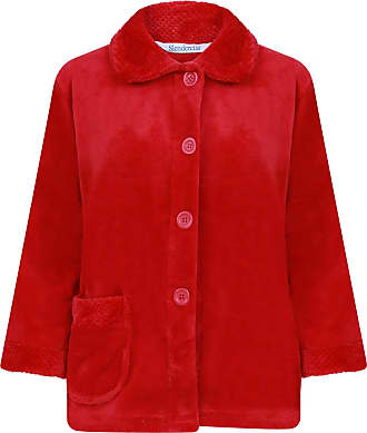 Slenderella Womens Button Up Coral Fleece Bed Jacket Housecoat with Waffle Detail - Medium (Red)