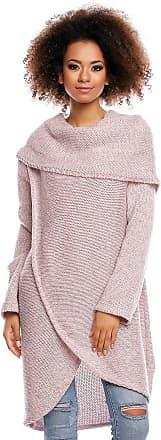 Zeta Ville Zeta Ville - Womens Knit Jumper Pullover Cardi Long Sleeves Double Layer - 359z (Pink Melange, UK 10/12, ONE Size)