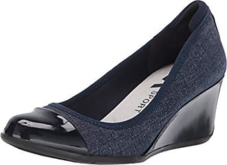 Anne Klein Womens Taite Wedge Heels Pump, Denim, 5.5 M US