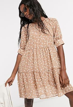 Object linen smock dress in light brown polka dot