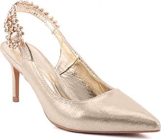 Unze Unze Women Blossom Decorated Sling Back Strap Formal Closed Toe Suede Upper Casual Summer Stiletto Heel Sandals UK Size 3-8 - 335-6 Gold