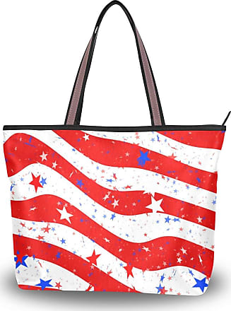 Lorona Women Us Stars And Stripes America Flag Canvas Shoulder Hand Bag Large Capacity Tote Bag