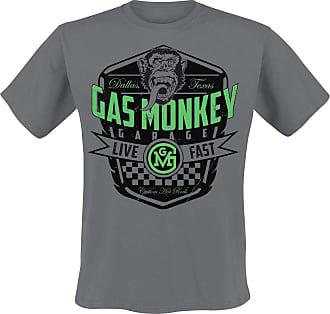 Gas Monkey Garage Live Fast Men T-Shirt Charcoal L, 100% Cotton, Regular