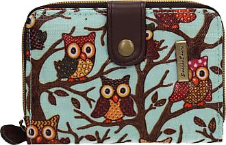Swankyswans Classic Tree Owl Animal Print Bi-fold Wallet Blue