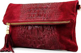 modamoda.de ital. Leather bag clutch bag shoulder bag suede/croco T54KR, Colour:Dark red suede/crocodile